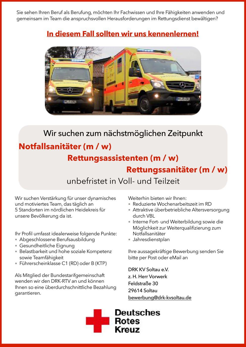 Rettungsdienstkrankentransport Drk Kv Soltau Ev